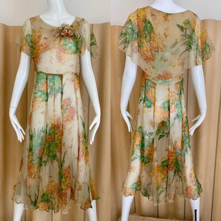 Vintage 30s creme, green, orange floral print silk day dress. Fit size 2/4