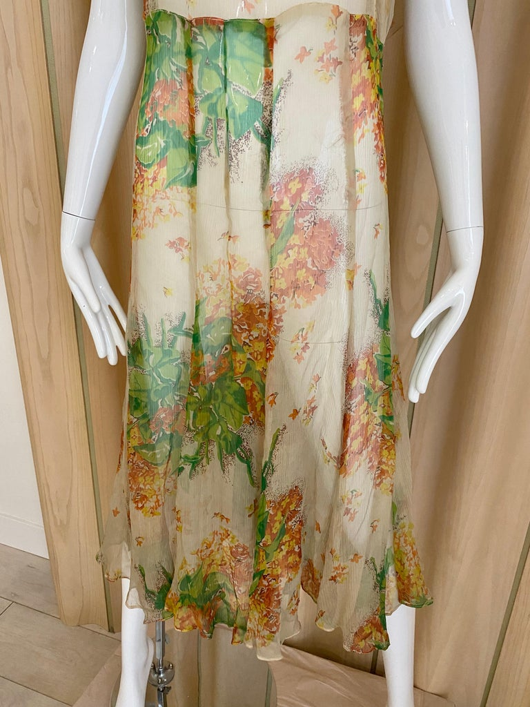 Women's  1930s Creme and Green Floral Print Silk Chiffon Day Dress For Sale
