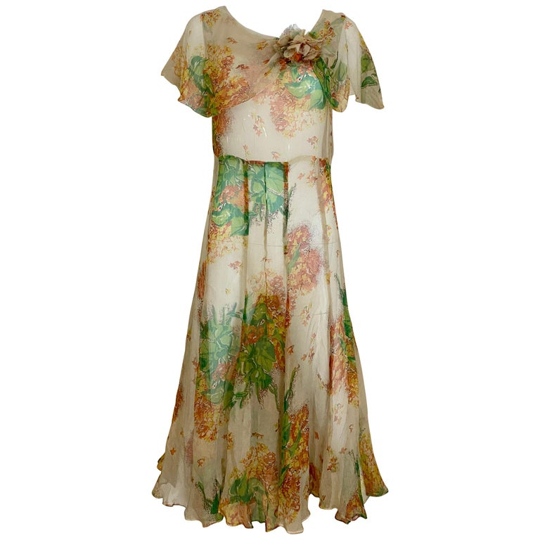 1930s Creme and Green Floral Print Silk Chiffon Day Dress For Sale