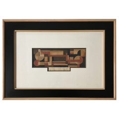 1930s Cubist Watercolor, Signed and Dated 1932