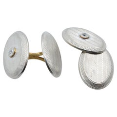 1930s Cufflinks in Platinum, Gold and Diamond Oval Disk