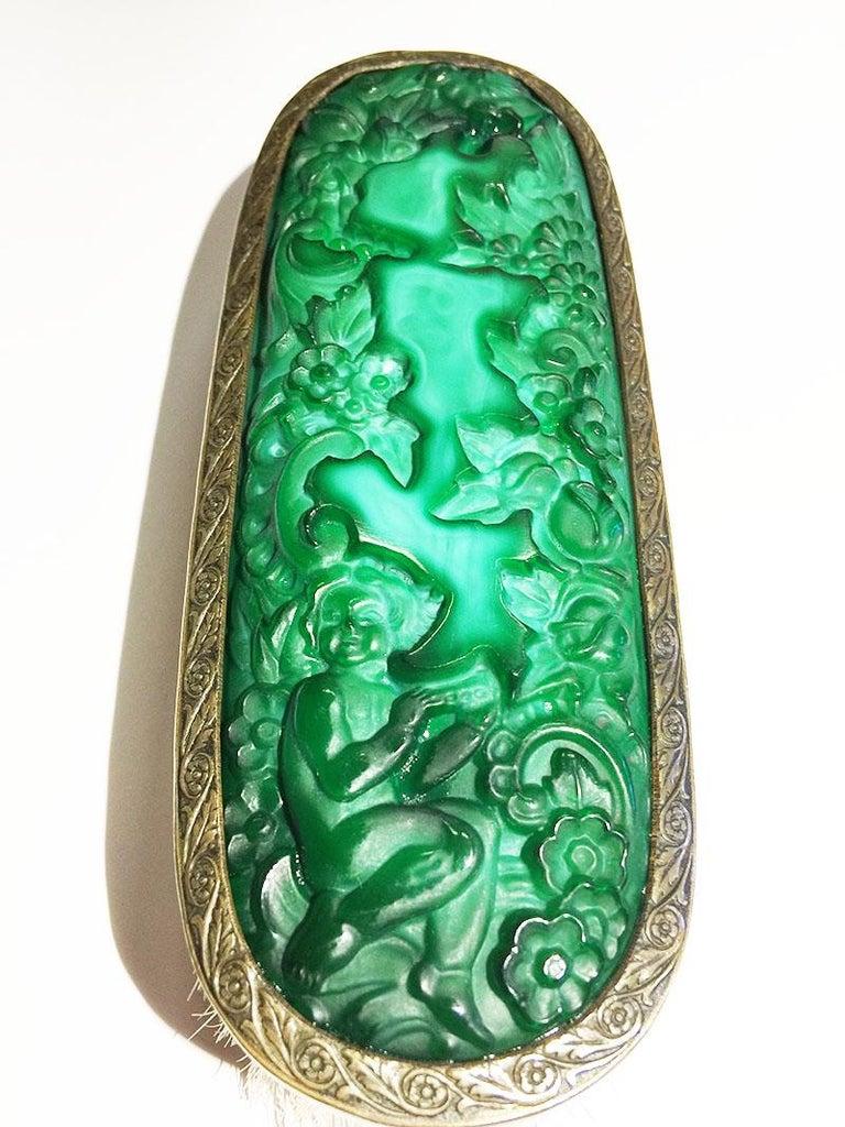 1930s Curt Schlevogt, Ingrid Collection Bohemian Malachite Glass Dresser Set For Sale 4