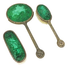 1930s Curt Schlevogt, Ingrid Collection Bohemian Malachite Glass Dresser Set