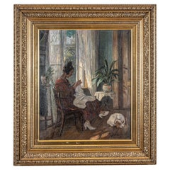 1930s Danish Oil Painting on Canvas of a Woman with a Dog by Carl Horning-Jensen