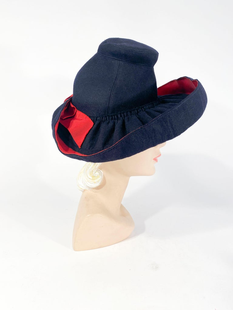 Black 1930s Dark Blue Hand-sculpted Wide-Brimmed Hat with Red Accents For Sale
