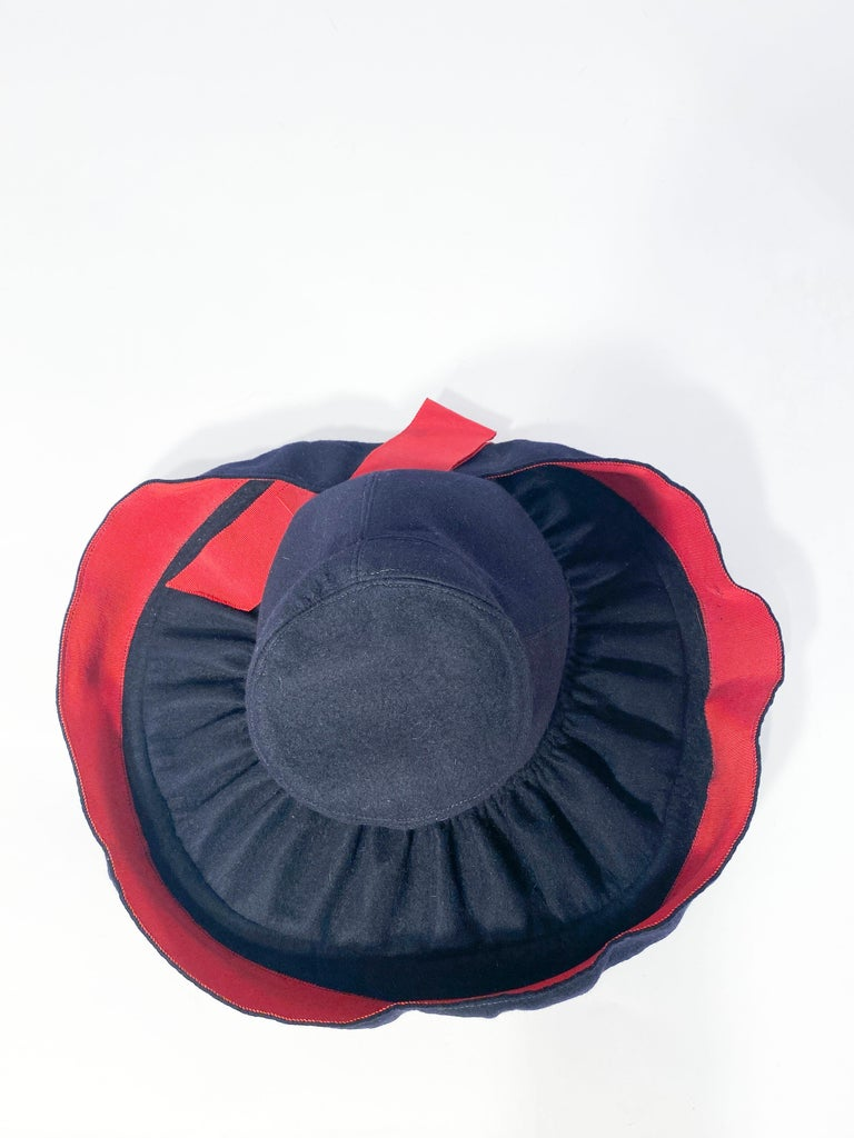 Women's 1930s Dark Blue Hand-sculpted Wide-Brimmed Hat with Red Accents For Sale