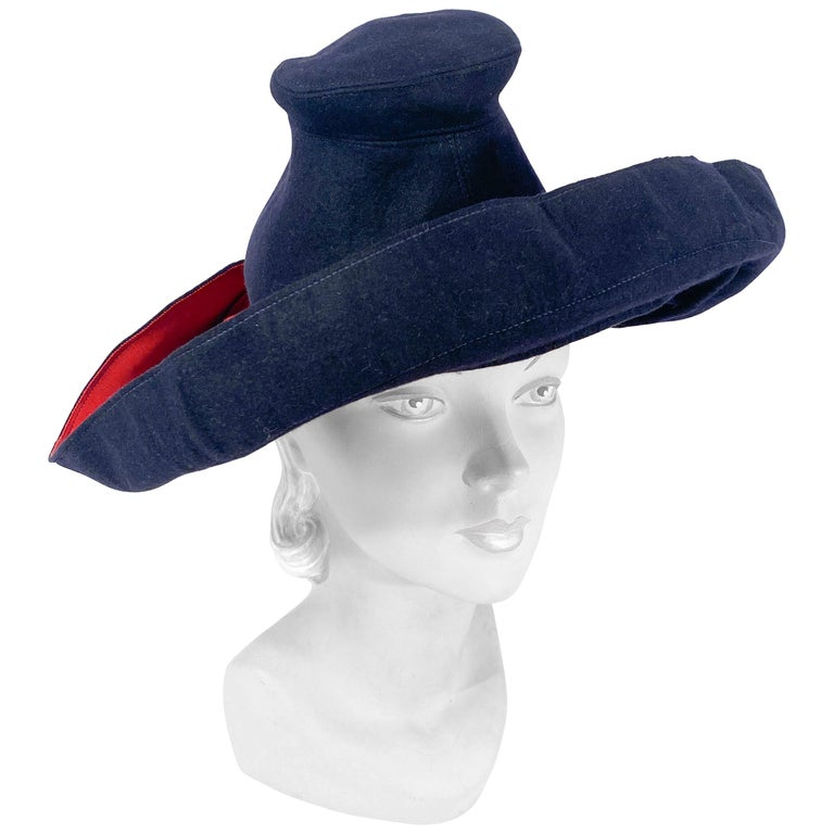 1930s Dark Blue Hand-sculpted Wide-Brimmed Hat with Red Accents For Sale