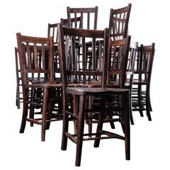 1930s Dark Elm Church, Chapel Dining Chairs