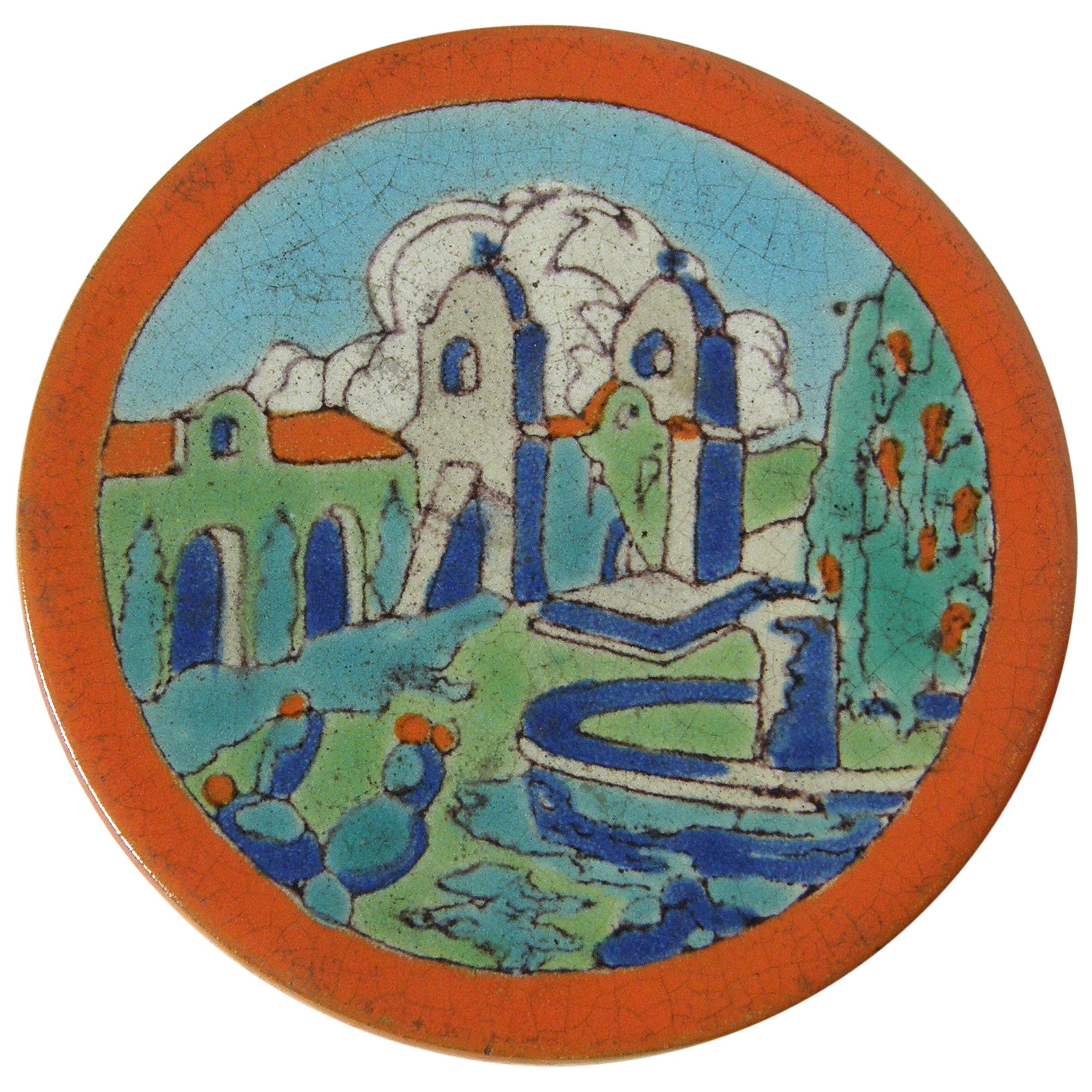 1930s Davies & McDonald California Pottery Tea Tile Trivet with Mission D&M