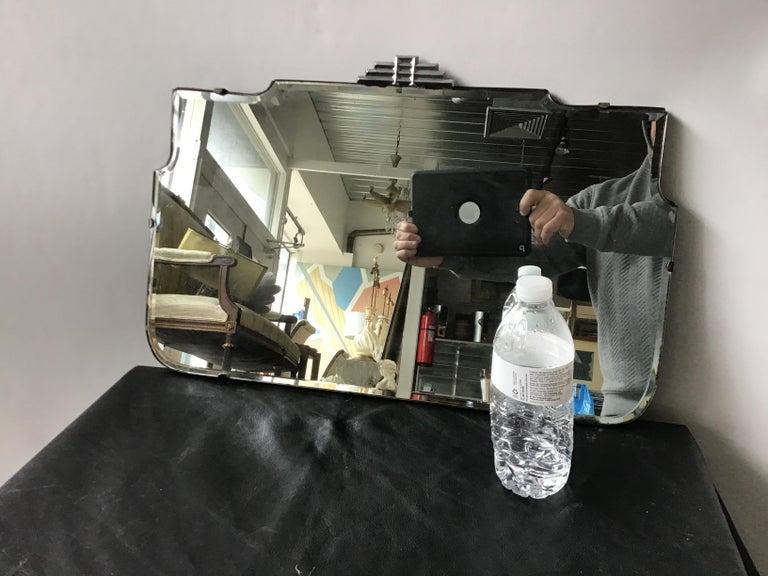 1930s deco beveled mirror.