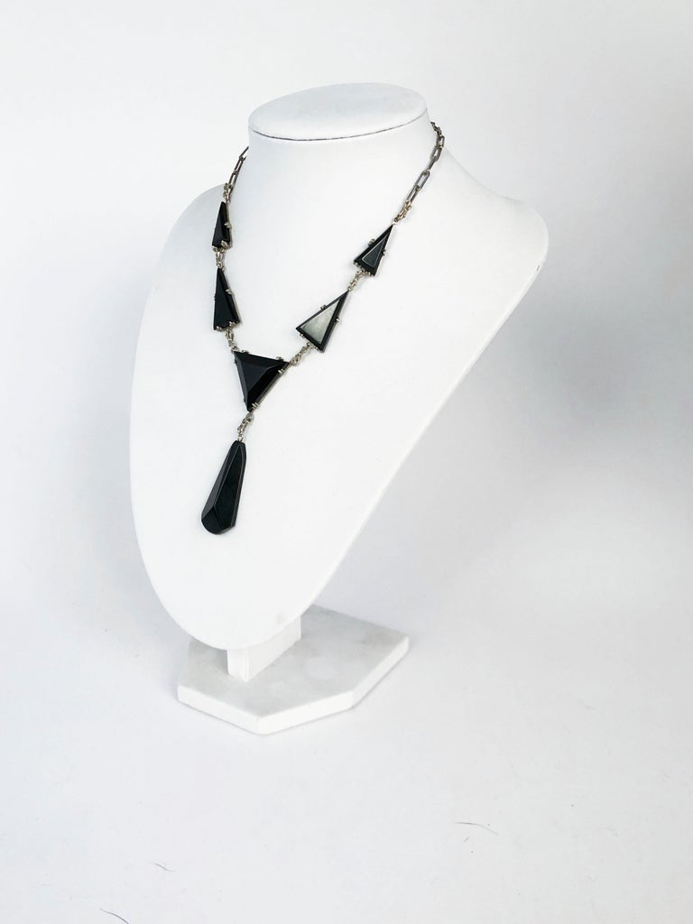 Women's 1930s Deco Onyx, Bakelite, and Silver Necklace For Sale