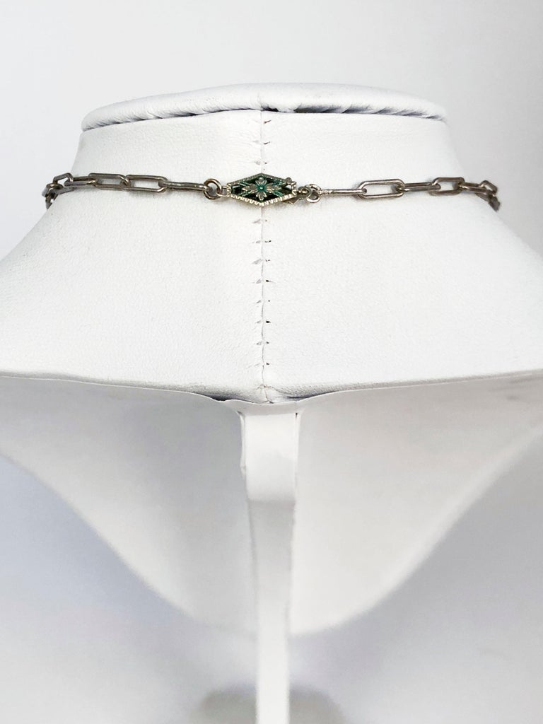 1930s Deco Onyx, Bakelite, and Silver Necklace For Sale 3