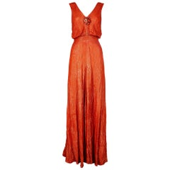1930s Deep Orange Lame Dress