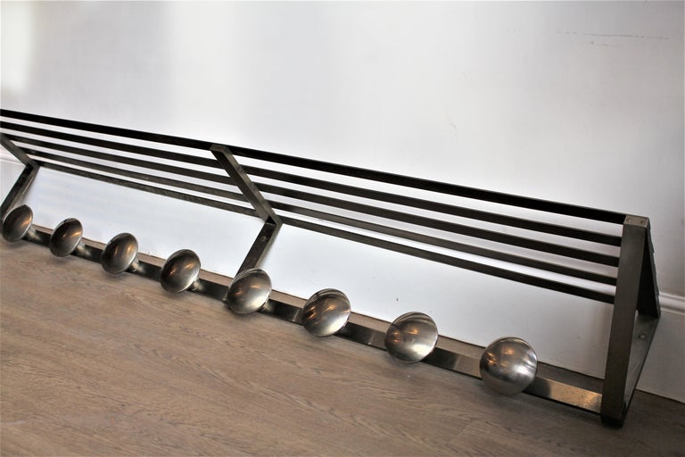Highly collectable original French Art Deco large hat/coat rack, circa 1930s Really heavy, and of exceptional quality, chrome on bronze, hence why after all these years it remains in very good condition and is showing no sign of pitting.  It has