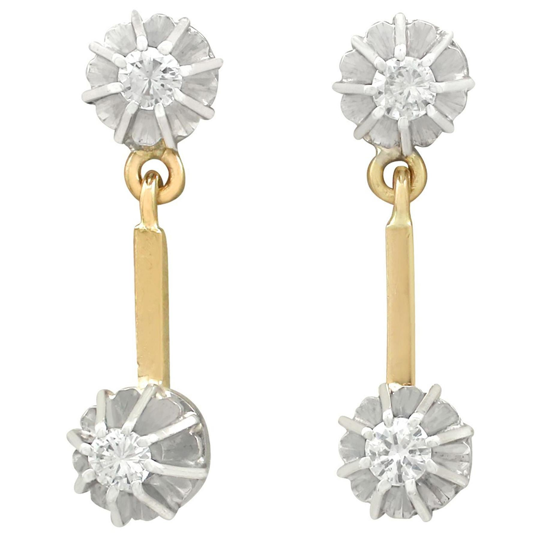 1930s Diamond and Yellow Gold Drop Earrings