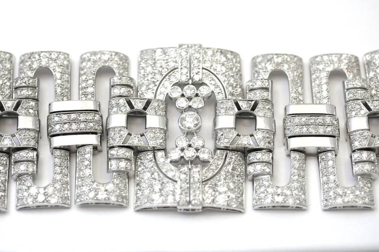 Women's 1930s Diamond Platinum Cuff Bracelet