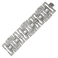 1930s Diamond Platinum Cuff Bracelet