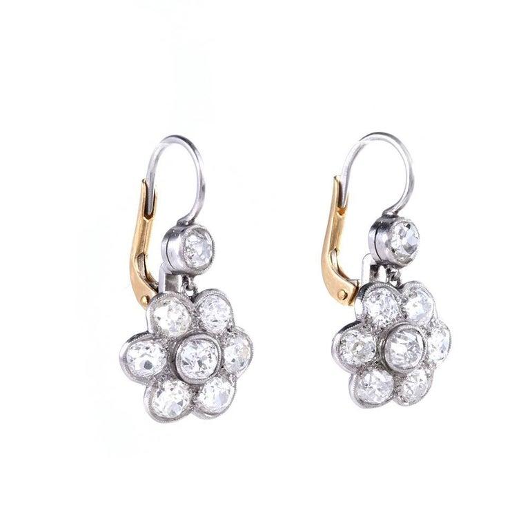 Art Deco 1930s Diamond Platinum Gold Flower Dangle Drop Earrings For Sale