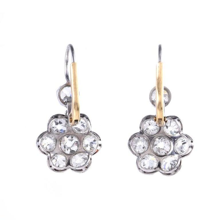 Old European Cut 1930s Diamond Platinum Gold Flower Dangle Drop Earrings For Sale