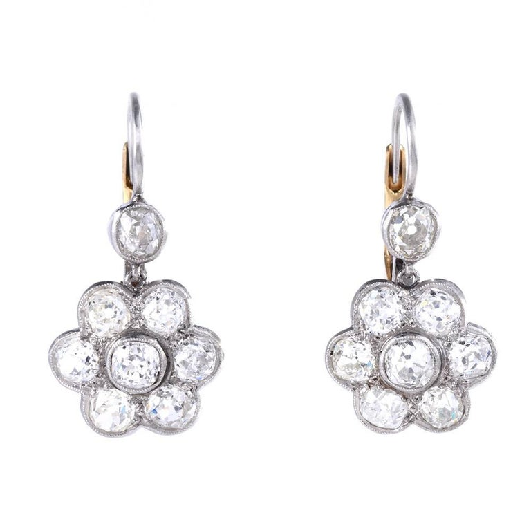 1930s Diamond Platinum Gold Flower Dangle Drop Earrings