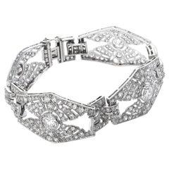 1930s Diamond Platinum Hexagon Link Bracelet