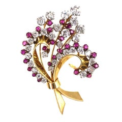 1930s Diamond Ruby Platinum 18 Karat Yellow Gold Floral Brooch