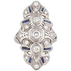 1930s Diamond Sapphire Platinum Ring