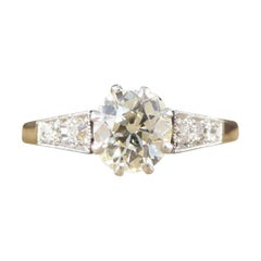 1930s Diamond Solitaire Ring, Diamond Set Shoulders, 18 Carat Gold and Platinum