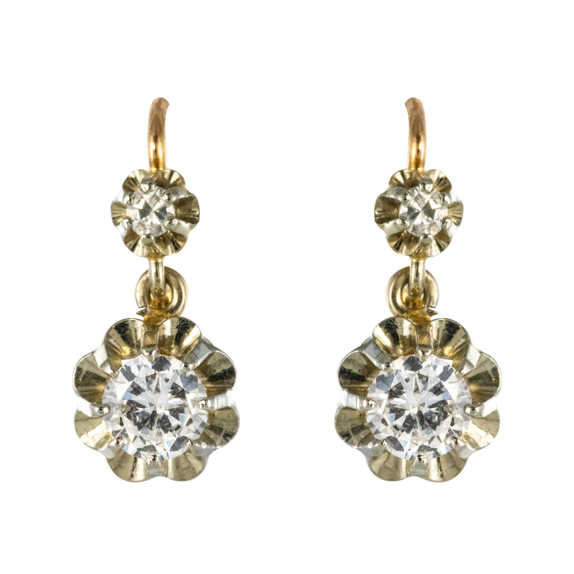 1930s Diamonds 18 Karat Rose White Gold Lever- Back Earrings