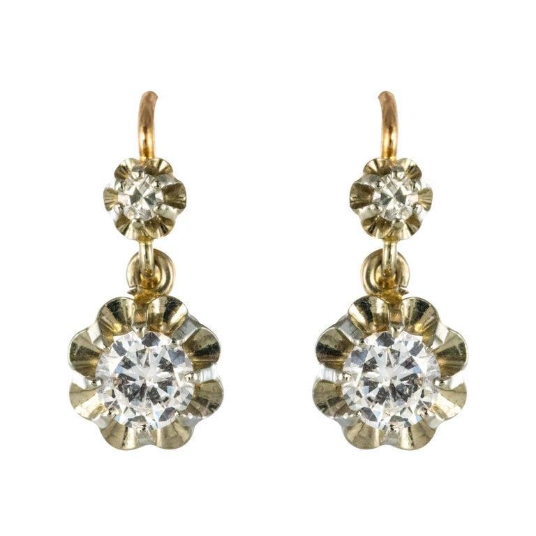 1930s Diamonds 18 Karat Rose White Gold Lever- Back Earrings For Sale
