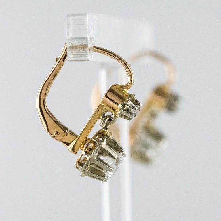 Brilliant Cut 1930s Diamonds 18 Karat Rose White Gold Lever- Back Earrings For Sale