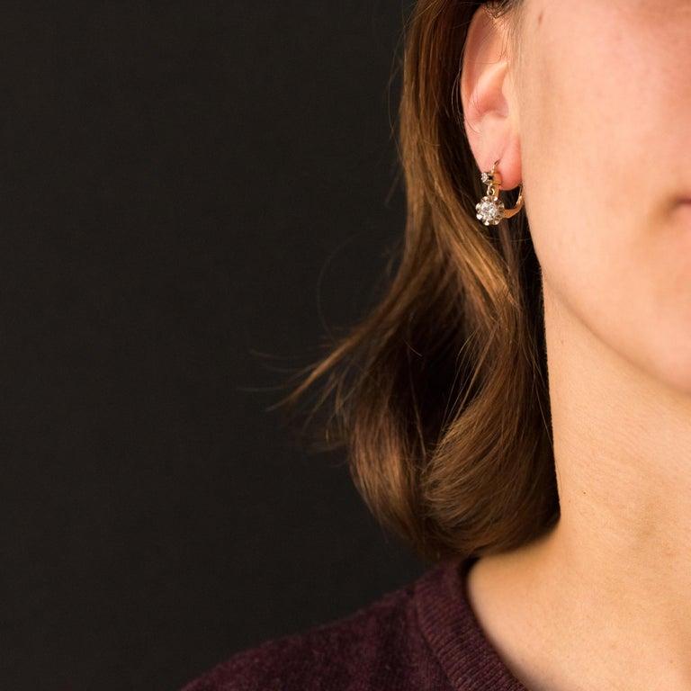 Women's 1930s Diamonds 18 Karat Rose White Gold Lever- Back Earrings For Sale
