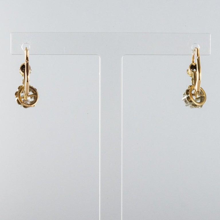 1930s Diamonds 18 Karat Rose White Gold Lever- Back Earrings For Sale 1