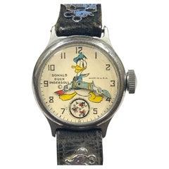 1930s Donald Duck Ingersoll Rare Mechanical Wristwatch