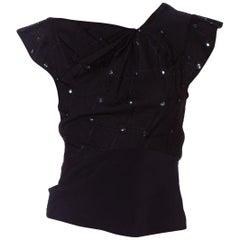 1930'S Black Silk Jacquard Asymmetrically Draped Evening Top With Sequin Beading