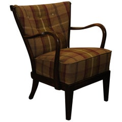 1930s DUX Scandinavian Art Deco Bentwood Armchair with Patterned Upholstery