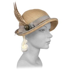 1930s Ecru Straw Panama Woven Day Hat With Pewter Band