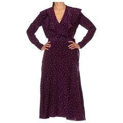 1930'S Eggplant Purple Silk Crepe De Chine Victorian Style Long Sleeve Dress Wi