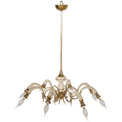 1930s Eight-Arms Italian Art Deco Pendant Lighting in Gilt & Laquered Brass