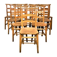 1930s Elm Church/Chapel Dining Chairs, Set of Eight