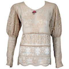 1930's Embroidered Ecru Mixed Lace Crochet Sheer Puff-Sleeve Bohemian Blouse