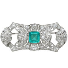1930s Emerald and Diamond White Gold Brooch