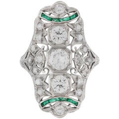 1930s Emerald and Diamonds Ring
