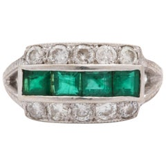 1930s Emerald Cut Emeralds with Diamonds Band Style White Gold Ring