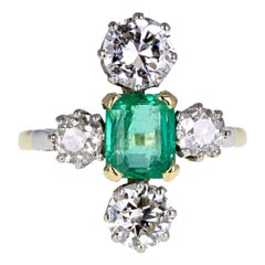 1930s Emerald Diamond Cluster Ring