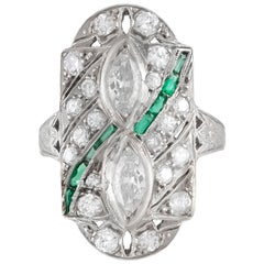 1930s Emerald Stone and Marquise and Round Ring