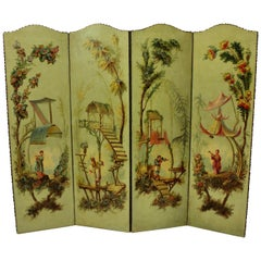 1930s English Hand Painted Chinoiserie Screen