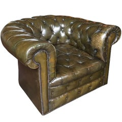 1930s English Olive-Green Chesterfield Club Chair
