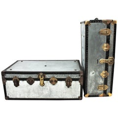 1930s English Polished Zinc Steamer Trunks as Coffee Tables, Set of Two