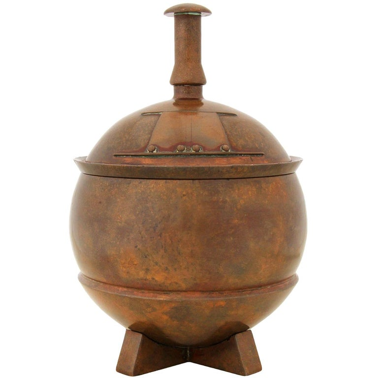 1930s English Solid Bronze Urn by George Adlam & Sons For Sale